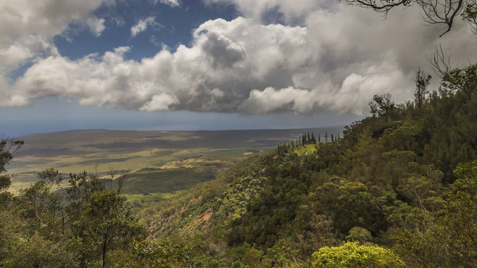 View over green mountains near Four Seasons Resort Hawaii, Lanai at Koele